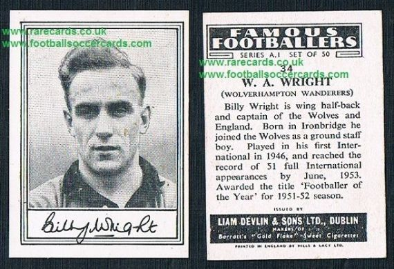 1952 Liam Devlin Ireland Series A1 #34 Billy Wright Wolves